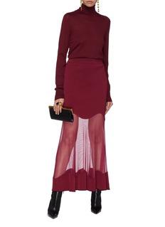 Alexander McQueen Mesh panel ruffle hem rib knit skirt