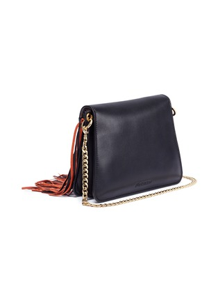 Detail View - Click To Enlarge - JW Anderson - 'Pierce' barbell ring fringe mini leather crossbody bag