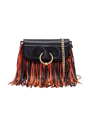 Main View - Click To Enlarge - JW Anderson - 'Pierce' barbell ring fringe mini leather crossbody bag