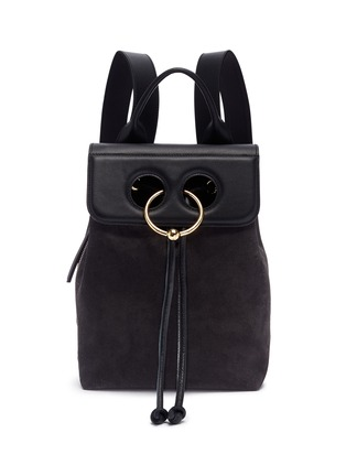 Main View - Click To Enlarge - JW Anderson - 'Pierce' barbell ring mini leather flap suede backpack
