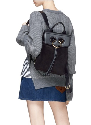 Figure View - Click To Enlarge - JW Anderson - 'Pierce' barbell ring mini leather flap suede backpack