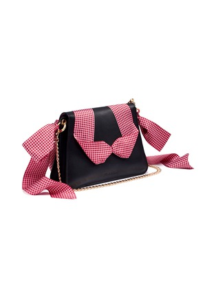 Detail View - Click To Enlarge - JW Anderson - 'Pierce' ribbon bow barbell ring mini crossbody bag