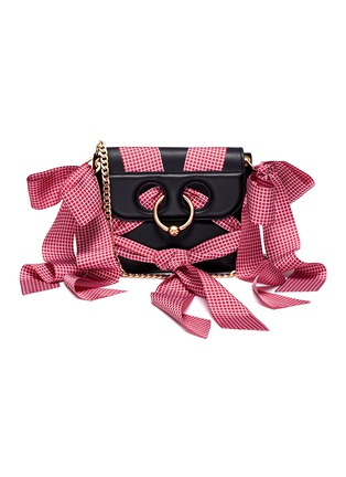 Main View - Click To Enlarge - JW Anderson - 'Pierce' ribbon bow barbell ring mini crossbody bag