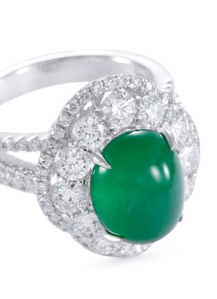 Detail View - Click To Enlarge - LC COLLECTION JADE - Diamond jade 18k white gold scallop ring and earrings set