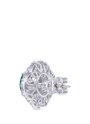 - LC COLLECTION JADE - Diamond jade 18k white gold scallop ring and earrings set
