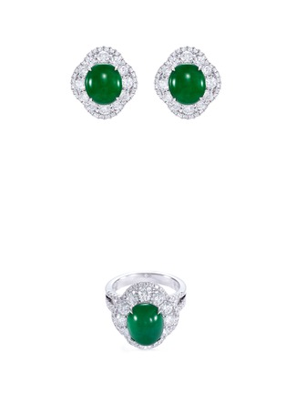 Main View - Click To Enlarge - LC COLLECTION JADE - Diamond jade 18k white gold scallop ring and earrings set
