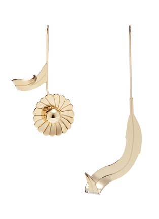 Main View - Click To Enlarge - JW Anderson - Mismatched daisy leaf drop earrings