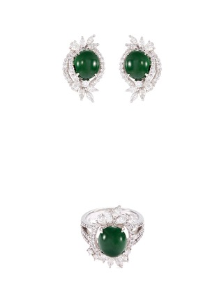 Main View - Click To Enlarge - LC COLLECTION JADE - Diamond jade 18k white gold ring and earrings set