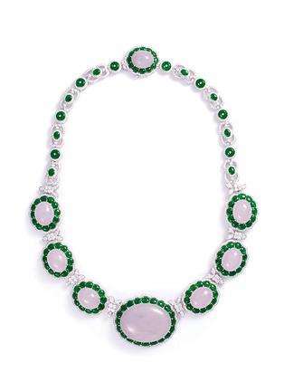 Main View - Click To Enlarge - LC COLLECTION JADE - Diamond jade 18k white gold necklace