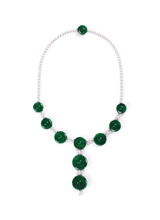 Main View - Click To Enlarge - LC COLLECTION JADE - Diamond jade 18k white gold disc necklace