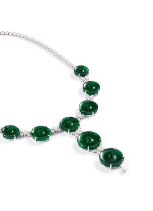 Figure View - Click To Enlarge - LC COLLECTION JADE - Diamond jade 18k white gold disc necklace
