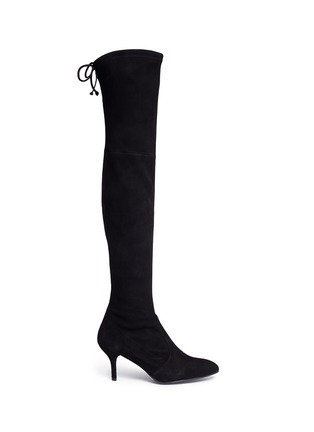 Main View - Click To Enlarge - Stuart Weitzman - 'Tie Model' stretch suede knee high boots