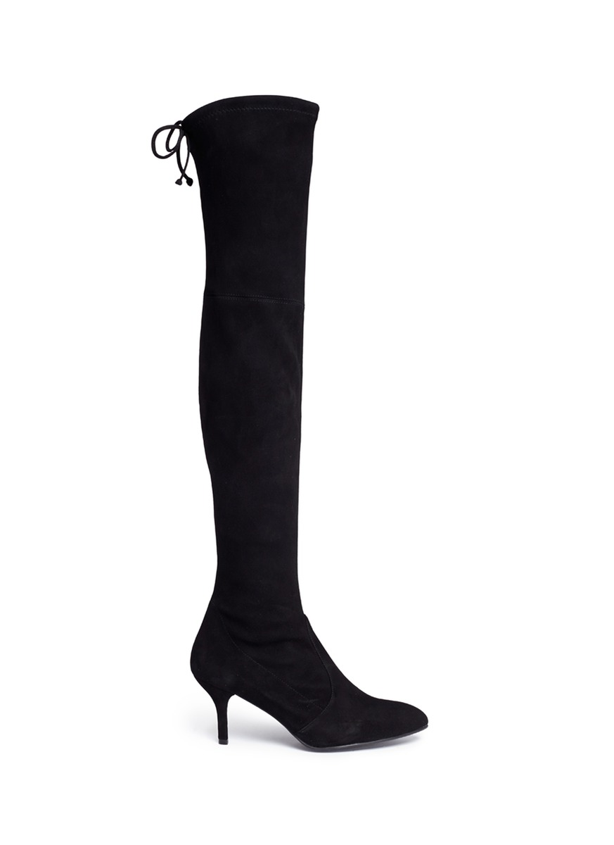 'Tiemodel' Stretch Suede Knee High Boots, Black