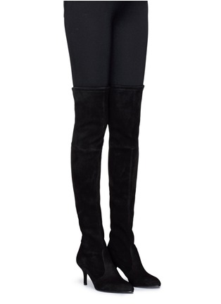Figure View - Click To Enlarge - Stuart Weitzman - 'Tie Model' stretch suede knee high boots