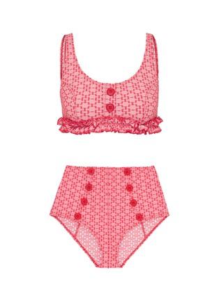 Main View - Click To Enlarge - LISA MARIE FERNANDEZ - 'Colby' button ruffle seersucker bikini set