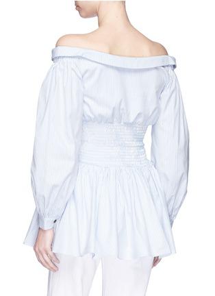 Back View - Click To Enlarge - Sandy Liang - Smocked waist stripe poplin off-shoulder shirt