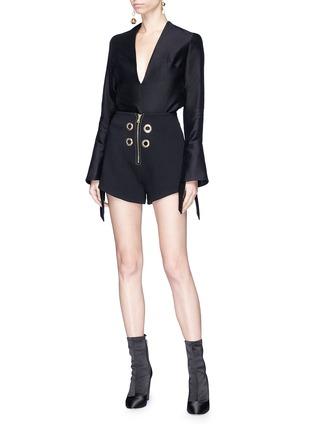 Figure View - Click To Enlarge - Elissa McGowan - 'La Pirate' eyelet crepe shorts