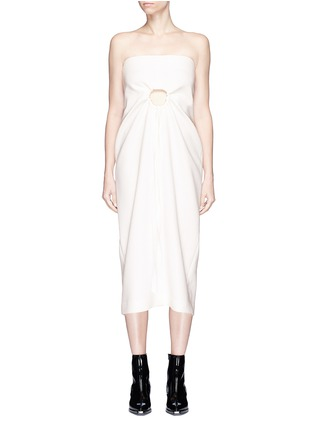 Main View - Click To Enlarge - Elissa McGowan - 'Hepworth' cutout front strapless crepe midi dress