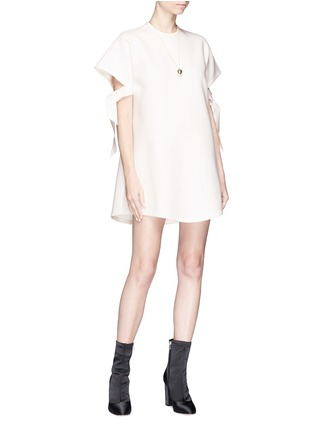 Figure View - Click To Enlarge - Elissa McGowan - 'Atoll' tie sleeve crepe mini dress