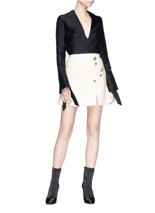 Figure View - Click To Enlarge - Elissa McGowan - 'Ceramique' mixed button bouclé mini skirt