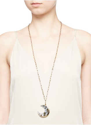 Figure View - Click To Enlarge - Lulu Frost - 'Laumière' Swarovski crystal gemstone crescent pendant necklace
