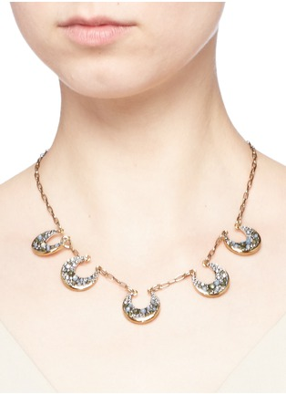 Figure View - Click To Enlarge - Lulu Frost - 'Laumière' Swarovski crystal gemstone crescent necklace