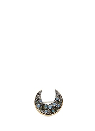 Main View - Click To Enlarge - LULU FROST - 'Laumière' Swarovski crystal gemstone crescent ring