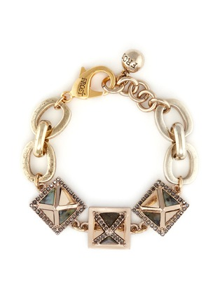 Main View - Click To Enlarge - Lulu Frost - 'Pyramides' mix gemstone crystal pavé pyramid stud bracelet