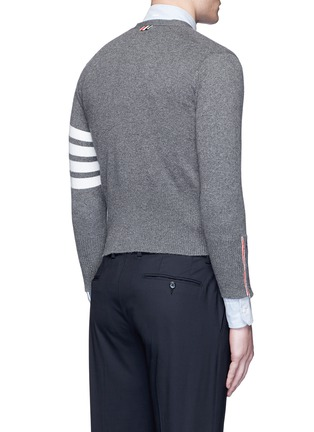 Back View - Click To Enlarge - Thom Browne - Intarsia stripe cashmere cropped cardigan