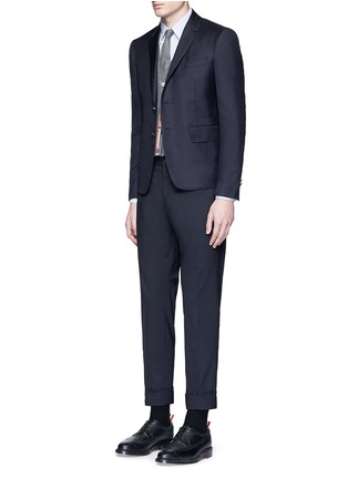 Figure View - Click To Enlarge - Thom Browne - Intarsia stripe cashmere cropped cardigan