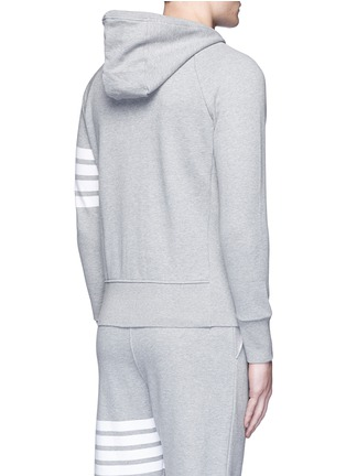 Back View - Click To Enlarge - THOM BROWNE - Stripe print cotton zip hoodie