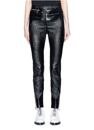 Main View - Click To Enlarge - 3.1 Phillip Lim - Zip cuff metallic leather cropped leggings