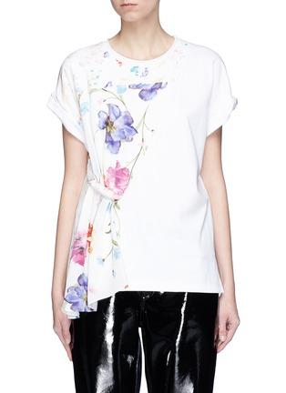 Main View - Click To Enlarge - 3.1 Phillip Lim - Floral print chiffon panel T-shirt