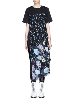 Main View - Click To Enlarge - 3.1 Phillip Lim - Floral print chiffon overlay T-shirt