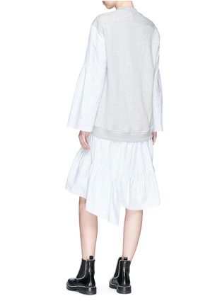 Back View - Click To Enlarge - 3.1 Phillip Lim - Stripe poplin skirt French terry sweatshirt dress