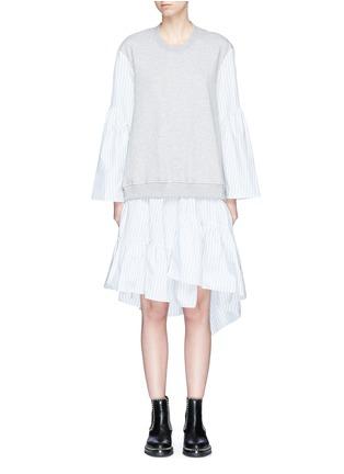 Main View - Click To Enlarge - 3.1 Phillip Lim - Stripe poplin skirt French terry sweatshirt dress