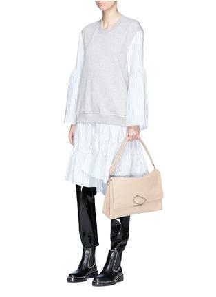 Figure View - Click To Enlarge - 3.1 Phillip Lim - Stripe poplin skirt French terry sweatshirt dress