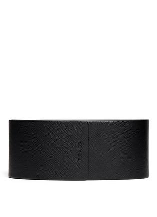 Detail View - Click To Enlarge - Prada - Acetate brow bar round sunglasses