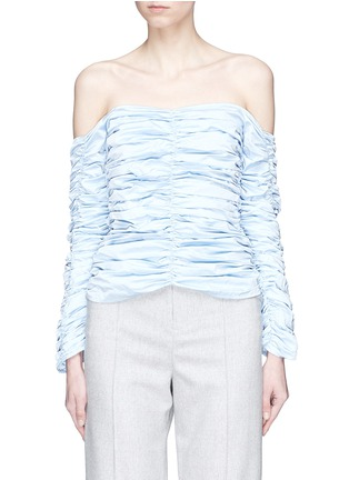 Main View - Click To Enlarge - Georgia Alice - 'Girlsss' ruched off-shoulder poplin top