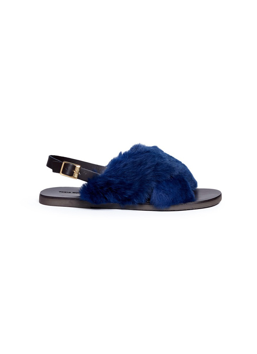Rabbit fur slingback sandals by Fabio Rusconi