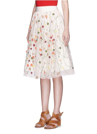 Front View - Click To Enlarge - alice + olivia - 'Catrina' floral embellished tulle skirt