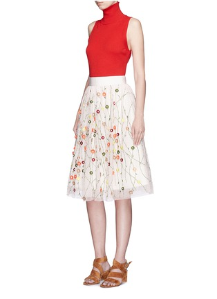 Figure View - Click To Enlarge - alice + olivia - 'Catrina' floral embellished tulle skirt