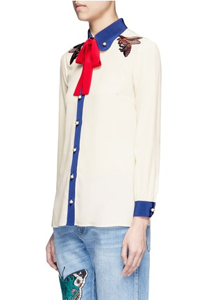 Front View - Click To Enlarge - Gucci - Bee embroidery silk shirt
