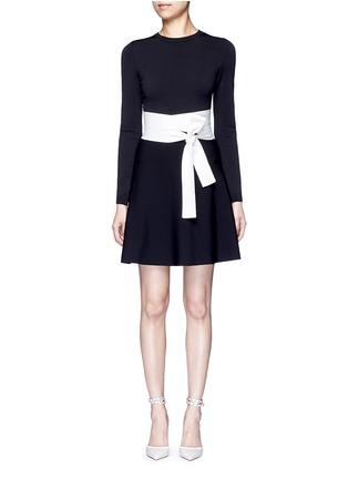 Main View - Click To Enlarge - Valentino - Contrast sash waist dense knit dress