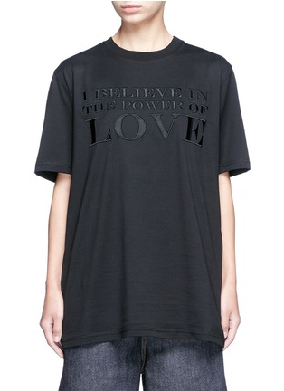 Main View - Click To Enlarge - Givenchy - 'Power of Love' slogan embroidered cotton T-shirt