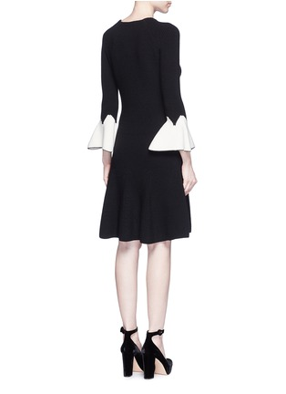 Back View - Click To Enlarge - Alexander McQueen - Peplum sleeve wool knit flared dress