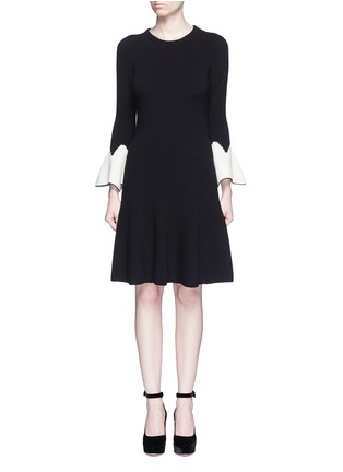 Main View - Click To Enlarge - Alexander McQueen - Peplum sleeve wool knit flared dress