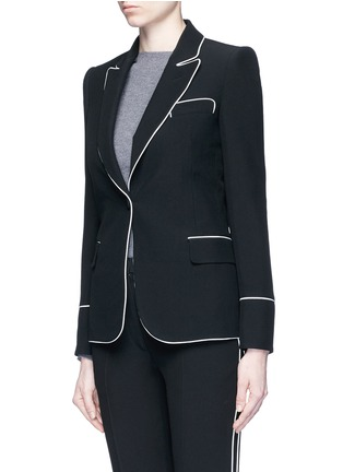 Front View - Click To Enlarge - Alexander McQueen - Contrast piping leaf crepe blazer