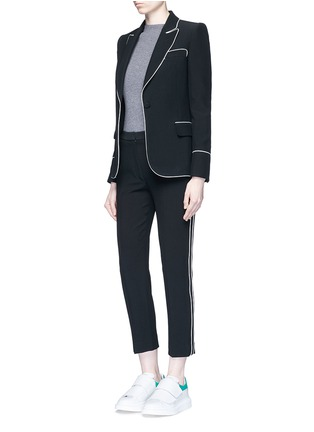 Figure View - Click To Enlarge - Alexander McQueen - Contrast piping leaf crepe blazer