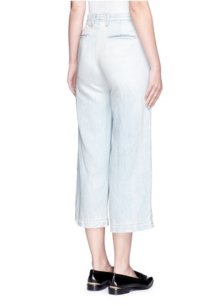 Back View - Click To Enlarge - Current/Elliott - 'The Cropped Neat' cotton-linen flared denim pants